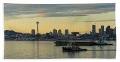 Seattles Working Harbor Beach Towel