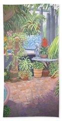 Beach Towel featuring the painting Secret Garden by Karen Zuk Rosenblatt