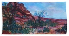 Sedona Red Rocks - Impression Of Bell Rock Beach Sheet by Ellen Levinson