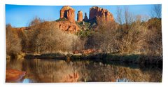 Sedona Winter Reflections Beach Sheet by Fred Larson