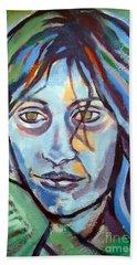 Beach Towel featuring the painting Self Portrait by Helena Wierzbicki