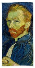 Beach Towel featuring the painting Self Portrait With Palette by Vincent Van Gogh