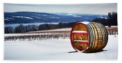 Seneca Lake Winery In Winter Beach Towel