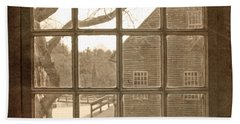 Sepia Colonial Scene Through Antique Window Beach Towel