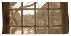 Sepia Colonial Scene Through Antique Window Beach Sheet