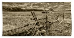 Sepia Colored Photo Of A Wood Fence By The John Moulton Farm Beach Towel by Randall Nyhof
