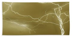 Sepia Converging Lightning Beach Towel