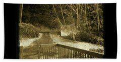 Beach Sheet featuring the photograph Sepia - Country Road First Snow by Absinthe Art By Michelle LeAnn Scott