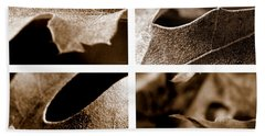 Beach Towel featuring the photograph Sepia Leaf Collage by Lauren Radke