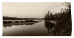 Sepia River Beach Towel