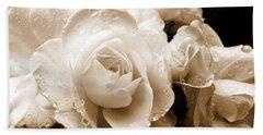 Sepia Roses With Rain Drops Beach Towel