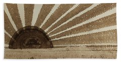 Sepia Sunset Original Painting Beach Sheet