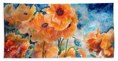 September Orange Poppies            Beach Towel