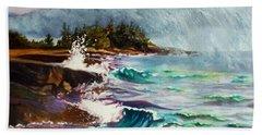 September Storm Lake Superior Beach Towel by Kathy Braud