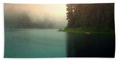 Serenity On Blue Lake Foggy Afternoon Beach Sheet