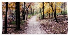 Beach Towel featuring the photograph Serenity Walk In The Woods by Peggy Franz