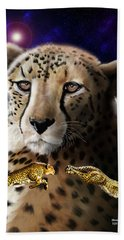 Beach Towel featuring the digital art First In The Big Cat Series - Cheetah by Thomas J Herring