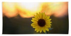 Setting Sun Flower Beach Towel