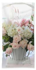 Shabby Chic Basket Of White Hydrangeas - Pink Roses - Dreamy Shabby Chic Floral Basket Of Roses Beach Towel