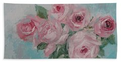 Shabby Chic Pink Roses Oil Palette Knife Painting Beach Towel
