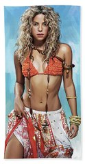 Beach Sheet featuring the painting Shakira Artwork by Sheraz A