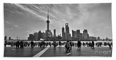 Shanghai Skyline Black And White Beach Towel