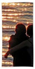 Sharing A Sunset Squared Beach Towel by Chris Anderson
