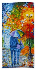 Beach Towel featuring the painting Sharing Love On A Rainy Evening Original Palette Knife Painting by Georgeta Blanaru