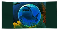 Shark World  Beach Towel by Robin Moline