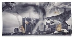 Beach Sheet featuring the photograph Sharknado Detroit by Nicholas  Grunas