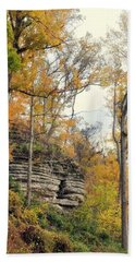 Beach Towel featuring the photograph Shawee Bluff In Fall by Marty Koch