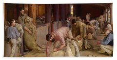 Shearing The Rams  Beach Sheet by Tom Roberts