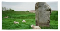 Sheep At Avebury Stones - Original Beach Towel by Marilyn Wilson