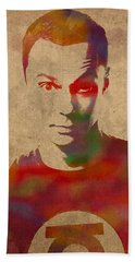 Sheldon Cooper Big Bang Theory Jim Parsons Watercolor Portrait On Worn Distressed Canvas Beach Towel