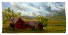 Beach Towel featuring the painting Shelter From The Storm by Meaghan Troup