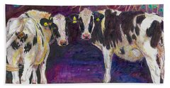 Sheltering Cows Beach Towel by Helen White