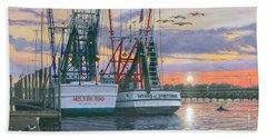 Shem Creek Shrimpers Charleston  Beach Towel