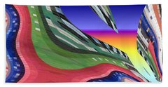 She's Leaving Home Abstract Beach Towel by Alec Drake