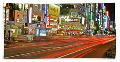 Beach Towel featuring the photograph Shinjuku Neon Strikes by Jonah  Anderson