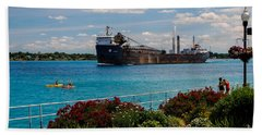 Ship And Kayaks Beach Sheet