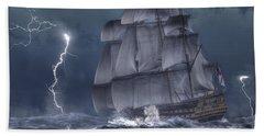 Ship In A Storm Beach Sheet