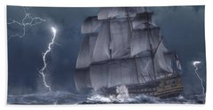 Ship In A Storm Beach Towel