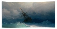 Ship On Stormy Seas Beach Towel
