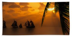 Ships And The Golden Dawn... Beach Towel by Tim Fillingim