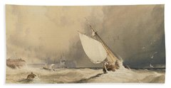 Ships At Sea Off Folkestone Harbour Storm Approaching Beach Towel by Anthony Vandyke Copley Fielding