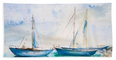 Ships In The Sea Beach Towel