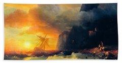 Shipwreck At Mount Athos Beach Towel
