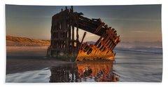 Shipwreck At Sunset Beach Towel