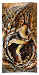 Beach Towel featuring the painting Shiva Eternal Dance by Harsh Malik