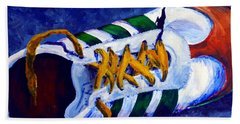 Beach Towel featuring the painting Shoeless by Jackie Carpenter